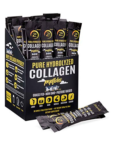 Premium Hydrolyzed Collagen Peptides - Non-GMO, Grass-Fed, Gluten-Free, Pasture Raised Cattle|Unflavored and Easy to Mix - 100% Pure Ultimate Collagen Powder (30 Travel Packs)