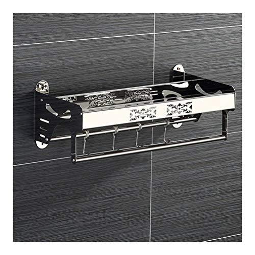 ZhanMazwj Toallero de ducha de acero inoxidable con toallero, organizador de almacenamiento de cosméticos, montaje en pared, resistente al óxido, 57 cm 02.01