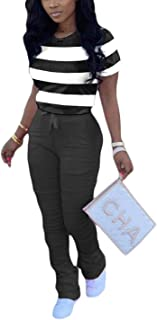 Womens Casual 2 Piece Outfits Striped Colorblock T Shirt and Ruffles Joggers Biker Tracksuits Set