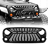 Front Grill Angry Face Grill For 2007-2017 Jeep Wrangler JK/JKU Accessories Thunderfury For Rubicon Sahara Sports Without Light Matte Black