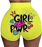 Newsite Women's Workout Shorts High Waist Booty Gym Yoga Pants Butt Lifting Sports Leggings Basic Biker Shorts,Girl Pwr,XXL