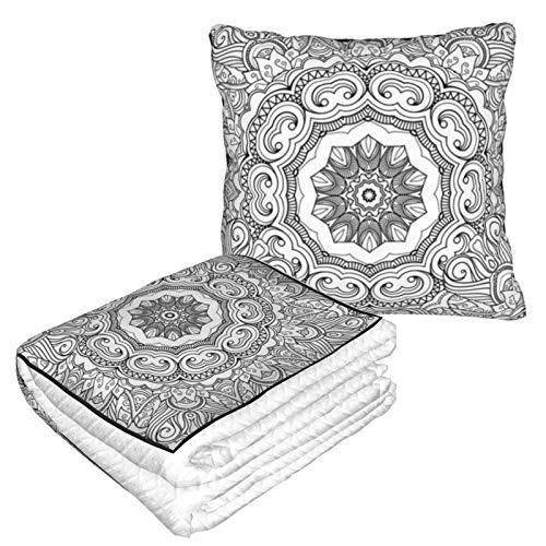 Manta de almohada de terciopelo suave 2 en 1 con bolsa suave monocromática para colorear la mano Mandala funda de almohada para el hogar, avión, coche, viajes, películas