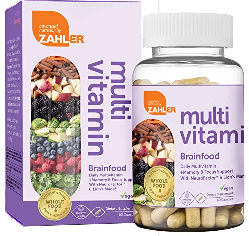Multivitamin Brainfood, Daily Multivitamin +Memory and Focus Support, Multivitamin for Men and Women with Iron, Certified Kosher, 60 Capsules