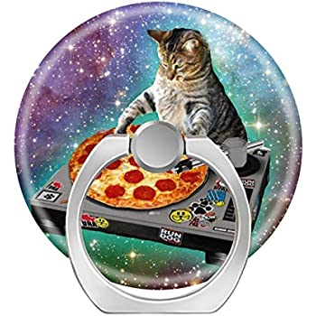 360 Degree Finger Stand Cell Phone Ring Holder Car Mount with Hook for Smartphone-cat in Outer Space