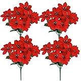 Homcomodar Ramo de flores artificiales de seda sintética de 7 cabezas para Navidad, festividades, fiestas familiares, decoración interior y exterior (4 unidades)