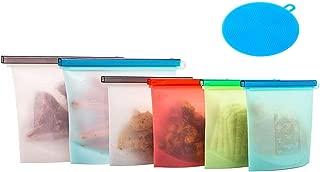 Bolsas de almacenamiento de alimentos de silicona ecológicas, reutilizables, sin BPA, herméticas, sin fugas, para frutas, verduras, sopa de carne Large 2 Pcs&small 4 Pcs