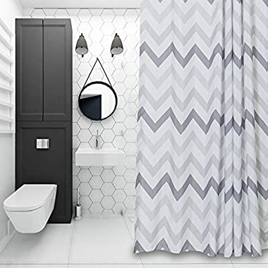Chevron Fabric Shower Curtain Grey,White,Striped Mold Resistant 72  x 72 ,Geometric