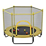 5FT Trampoline with Safety Enclosure Net, Outdoor & Indoor Mini Trampoline, Yellow