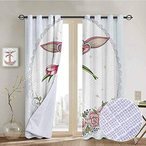 NUOMANAN Living Room Curtains Valentine,Cute Hipster Giraffe with Tulip and Heart Shaped Glasses Vintage Frame,Baby Blue Pale Pink,Adjustable Tie Up Shade Rod Pocket Curtain 52'x96'