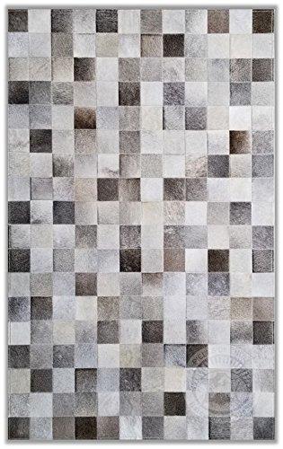 Sunshine Cowhides Teppich aus Kuhfell Patchwork, Farbe: Grau, Premium - Qualität von Pieles del Sol aus Spanien (120 x 180 cm)
