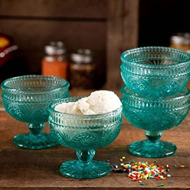 The Pioneer Woman Adeline 10 Oz Glass Sundae Cups, Set of 4 - Turquoise by The Pioneer Woman