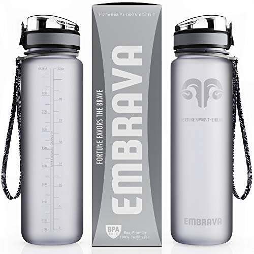 Embrava Best Sports Water Bottle - 32oz Large - Fast Flow, Flip...