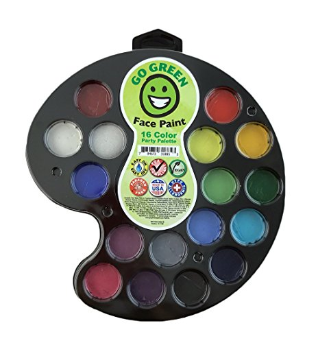 Go Green Face Paint - 16 Washable - Non Toxic Water Based Painting Kit for Kids with The Highest Safety Rating - Works Well with Brushes and Stencils on Many Faces Great for Halloween