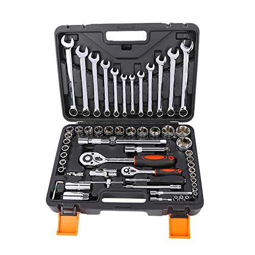 IOIOA 61-delige set moersleutels, handgereedschapsset, ratelmoersleutel, moersleutel, moersleutel, professionele autoreparatieset, gereedschapskist voor machine gereedschap.