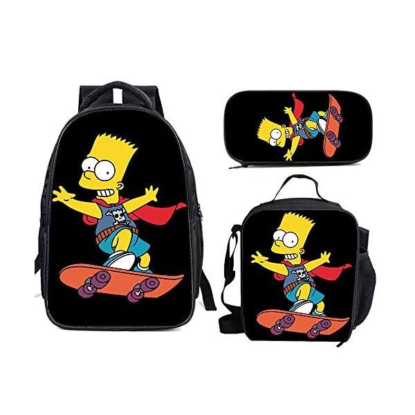 51hcOcsKZ0L. SS600  - The Si-mps-ons - Juego de mochila escolar con bolsas de almuerzo y estuche ligero para viaje para niños y niñas
