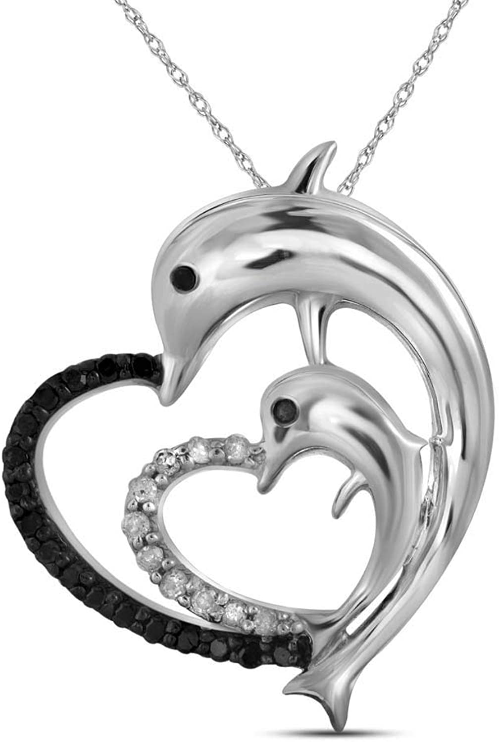 10kt White gold Womens Round Black color Enhanced Diamond Dolphin Heart Pendant 1 8 Cttw