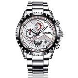 SUNVEN Herrenuhr Wasserdicht Sport Quarz-Wasserdicht 30M mit Edelstahl Brecelet Chronograph und Kalender Military Outdoor Style Fashion Uhren für Männer (White)