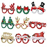 Eokeanon 9 Pack Christmas Party Glasses Christmas Glittered Decoration Costume Eyeglasses Frame Unisex Eyeglasses for Holiday Party Decorations Christmas Ornaments Gift, Assorted Styles