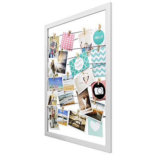 Bilderrahmen Fotorahmen B55xH75cm Holz Weiß mit 20 Klammern Bildergalerie Fotogalerie Fotohalter Wandfotohalter Fotoleine