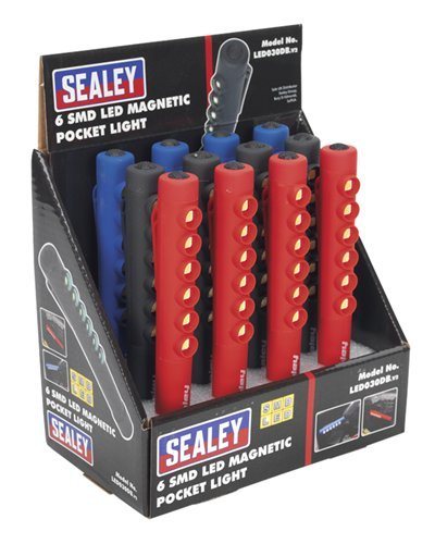 SEALEY led030db 6 SMD LED magnétique de poche clair (Lot de 12)