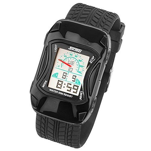 Taffstyle Kinder Armbanduhr Silikon Sportuhr Bunte Uhr Stoppuhr Auto Motiv mit Alarm Digital Quartz Schwarz