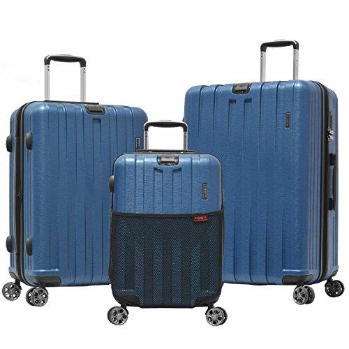 Olympia Sidewinder 3 Piece Luggage Set 21/25/29 Inch, Navy, One Size