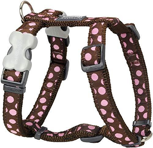Red Dingo Desinger Dog Harness, Pink Spots on Brown (20mm x Neck: 36-59cm / Body 45-66cm) M