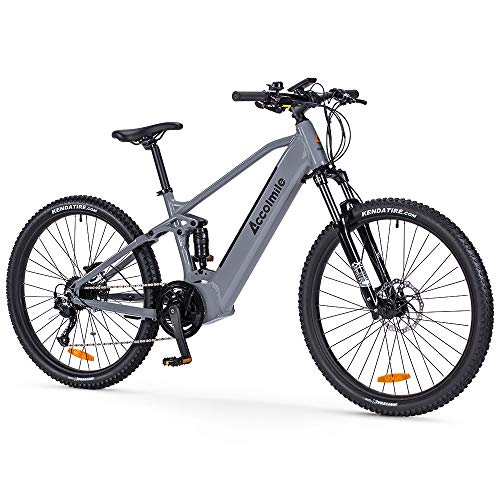 Accolmile Electric Bike Adult Electric Mountain Bike 27.5 inch, 43V 500W Mid Motor with 12.5Ah Removable Lithium Battery, Dual Disc Brake System Full Suspension Shimano 9 Speed MTB Ebike