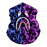 MOSDELU Purple Blue Camouflage Ba-pe Sh-ark Multifunctional Face Mask, Sweatband for Fishing Head Wrap Yoga Headband Motorcycling Neck Gaiter for Men and Women