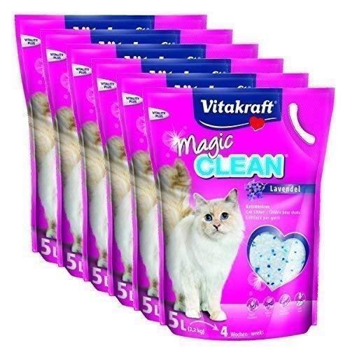Vitakraft Lettiera per gatti Magic Clean, lavanda, 6 x 5 litri