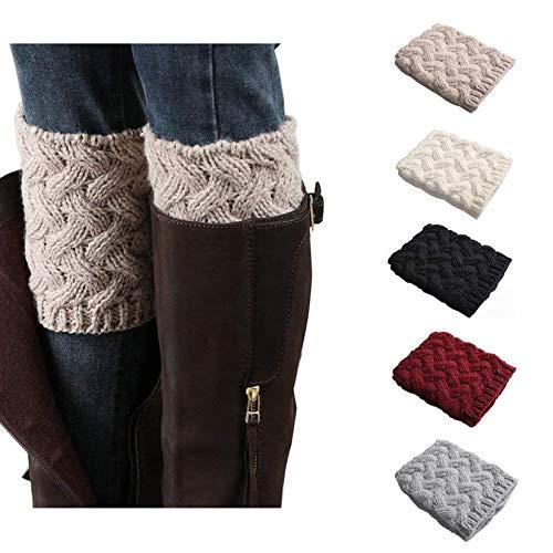 Bestjybt Womens Short Boots Socks Crochet Knitted Boot Cuffs Leg Warmers Socks, 5 Pairs, One Size, 5 Pairs