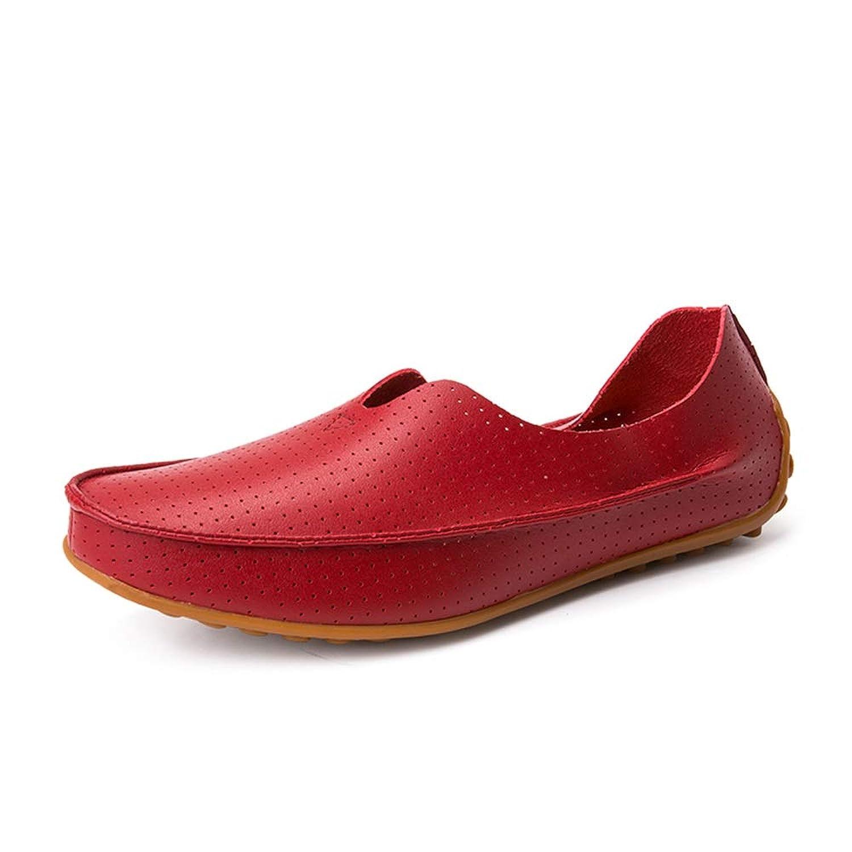 男士革靴 男性のための夏の通気性の穿孔カジュアルシューズPUレザー快適な軽量フラットローファー滑り止めスリップオンラウンドトゥ 個性な (Color : 赤, サイズ : 25 CM)