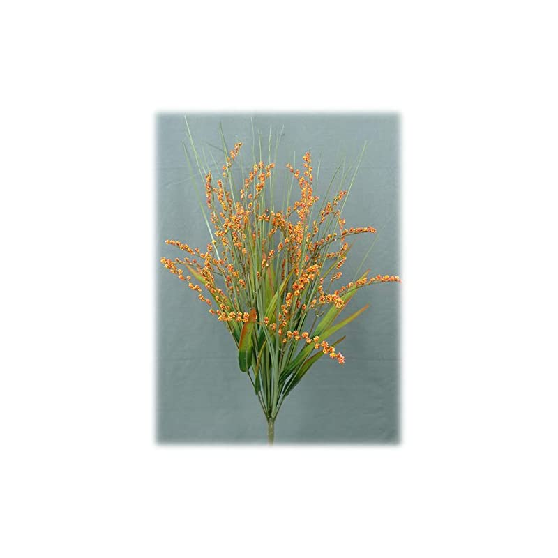 """silk flower arrangements liberty artificial foxtail grass fall spray - 24"""" (orange/red)"""