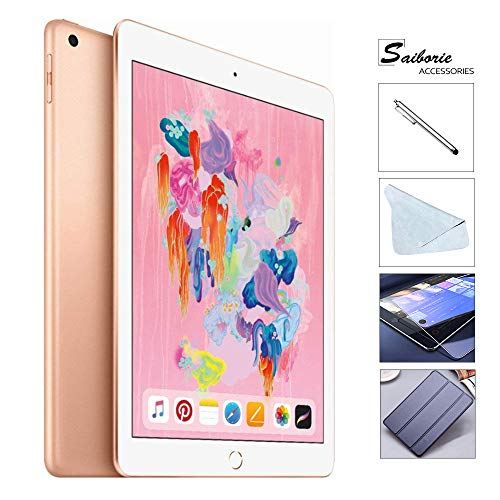Apple iPad 6th Gen 32GB 2018 Newest with Saiborie 49 Value Accessories, Wi-Fi Only, 9.7''...