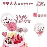 Juego de 16 Decoraciones para Tartas de Feliz Cumpleaños,Decoraciones para Tartas de Cumpleaños con Abanico de Papel,Globos y Estrellas con Amor,Decoraciones de Feliz Cumpleaños en Inglés,Rosa