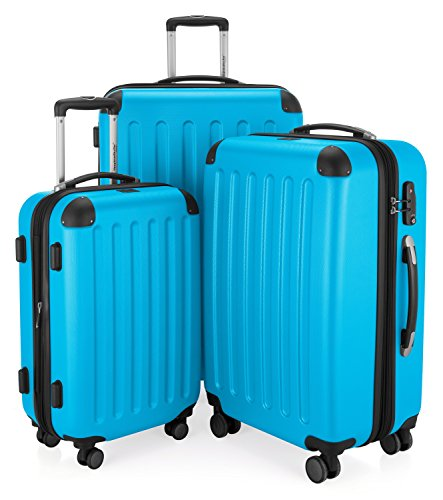 Hauptstadtkoffer Spree - 3-piece suitcase set Trolley-set Rolling suitcase Travel case, TSA, S, M and L, 75 cm, 259 L, cyan blue