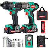 Cordless Drill Driver and Impact Driver 20V, HYCHIKA Drill Combo Kit, 2x1.5Ah Batteries, 1H Fast Charging, 22PCS Accessories for Drilling Wood, Metal and Plastic