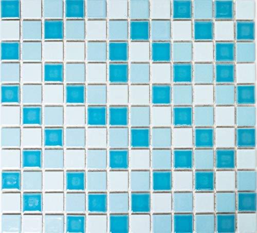 Mosaico de azulejos para piscina, cerámica, color azul, mezcla brillante, mampara de ducha MOS18-0406