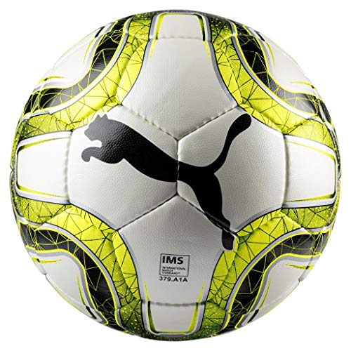 PUMA FINAL 4 Club (IMS APPR) Size 4 Fußball, White-Lemon Tonic Black, 4