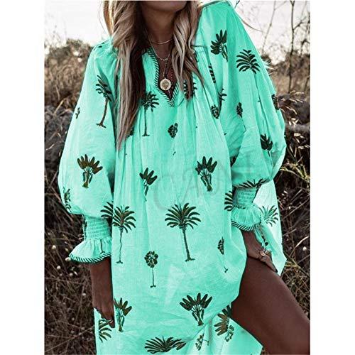 ISKER Badpak Palm Leaf Print Strand Jurk Vrouwen Lange Mouw Strand Jurken Voor Vrouwen Bikini 2019 Zomer Zon Bescherming Jurk Tuniek