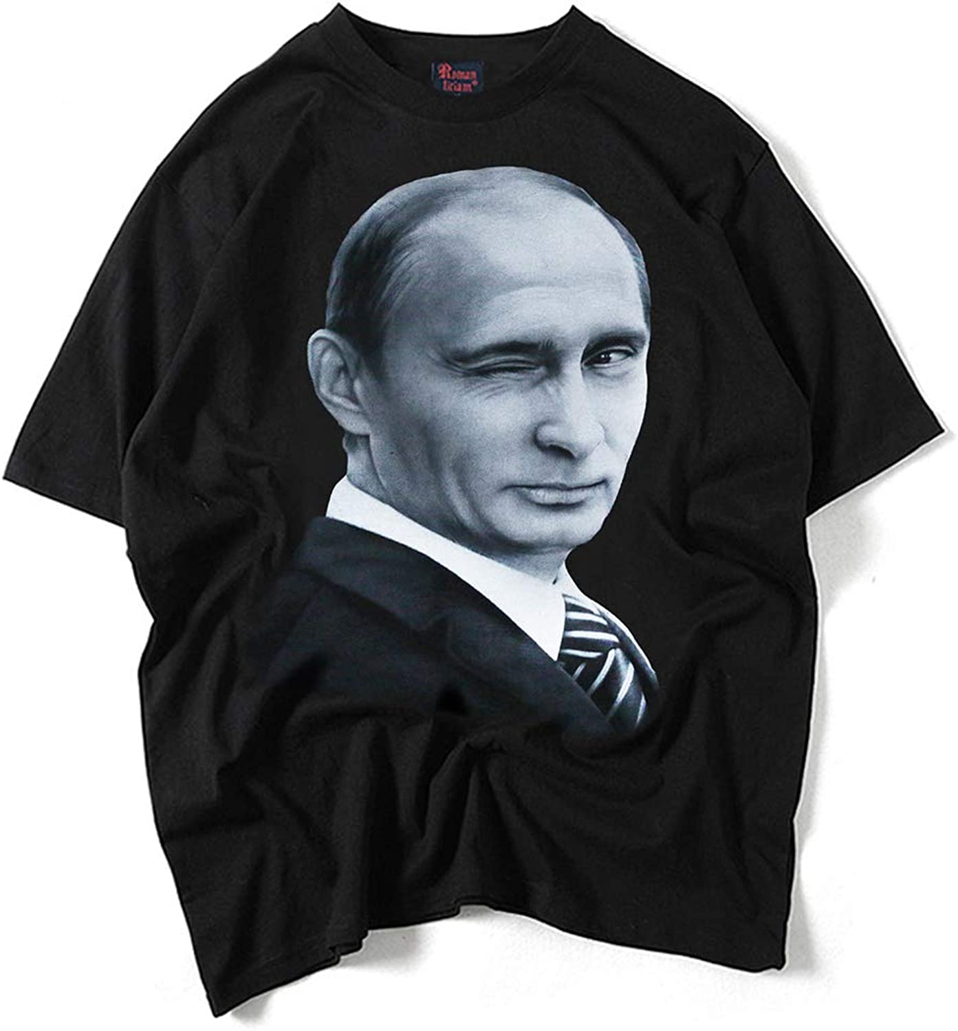 Short Sleeve T-Shirt Round Neck Simple Comfort Unisex Casual Style Fashion Personality Clothing,Winking-Putin,XL