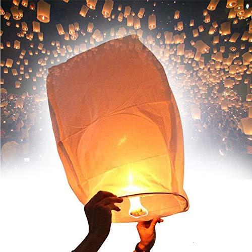 SYSP Kongming Lantern, White Chinese Sky Lanterns, para Navidad, Nochevieja, Wish Party y Bodas,10pcs