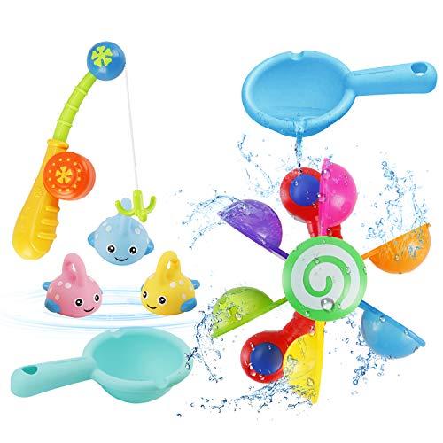 NASHRIO Kinder Badewannen Spielzeug, 7 Stück Badespielzeug Bad Angeln Spielzeug mit Schwimmenden Fisch, wasserspielzeug im Badewanne für Baby und Kleinkinder