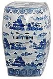 Oriental Furniture 18' Square Landscape Blue & White Porcelain Garden Stool