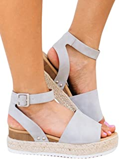8385b93632fe Syktkmx Womens Platform Slingback Sandals Summer Flat Ankle Strap Open Toe  Espadrilles