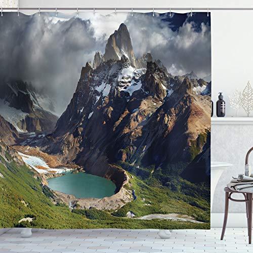 ABAKUHAUS Paesaggio Tenda da Doccia, Parco in Argentina, Tessuto Set di Decorazioni per Il Bagno con Ganci, per la Vasca da Bagno, 175 cm x 220 cm, Multicolore