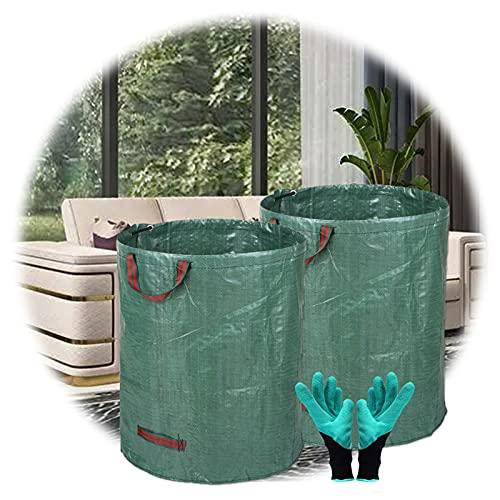 ZHANGXJ Plegable Bolsas para Desechos De Jardín Paquete De 2, 272 litros Tarea Pesada Rechazar Sacos con Asas, Reutilizable Bolsas De Hierba De Hoja 1 Par Guantes De Jardineria