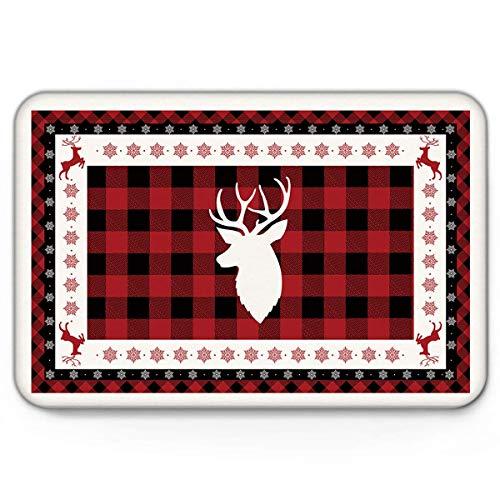 Area Rug Carpet Bath Mat Doormat Black and Red Buffalo Plaid White Elk Head Rugs 40X60CM