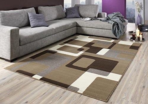 Bavaria Home Style Collection - Teppich Retro braun beige braun Wohnzimmer - modern - Robust und Strapazierfähig 160 x 230 cm