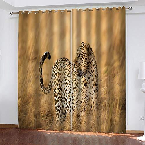 WLHRJ Cortina Opaca en Cocina el Salon dormitorios habitación Infantil 3D Impresión Digital Ojales Cortinas termica - 183x160 cm - Guepardo Animal de pastizales